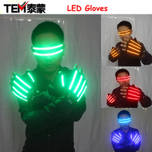 LED Glow Gloves Rave Light Flashing Finger Lighting Glow Mittens Magic Black luminous gloves Party supplies halloween(China)