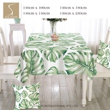 SewCrane Tropical Jungle Palm Leaves Green Monstera Fronds Cotton Linen Tablecloth