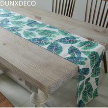 DUNXDECO Table Runner Linen Cotton Tablecloth Hawii Summer Forest Green Plants Leaves Pattern Fashion Home Party Decoration(China)