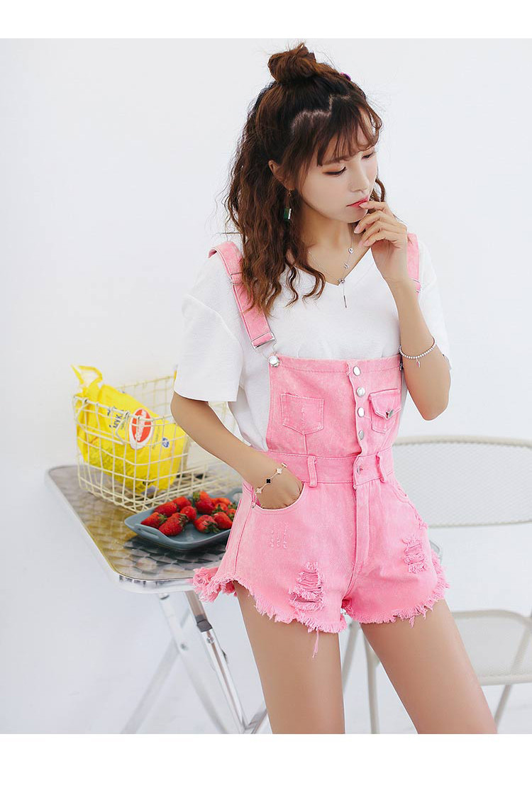 Denim Bibs Schoolgirl 2018 Spring New Loose Korean Thin Thin hole Flashes Fringe Shorts (16)