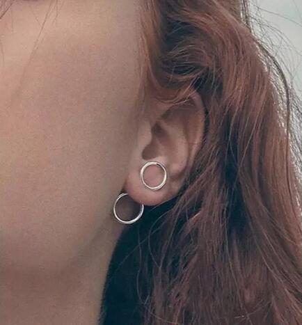 Fashion Simple Geometric Circle earrings female Women Round Clip earrings Stud Gifts
