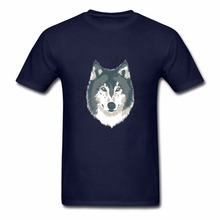 Harajuku Wolf Illustration cartoon T Shirt Men 100% Cotton Short Sleeve funny Tee Shirts cool Man Big Size Clothes Top(China)