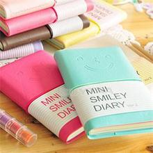 6 Colours Mini Smiley Diary Notebook Memo Book leather Note Pads Stationery Pocketbook 100 Pages