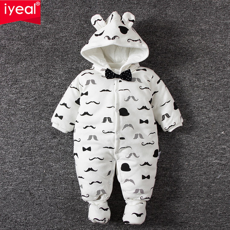 IYEAL 2017 Winter Thick Warm Newborn Baby Clothes Kids Boy Cotton Long Sleeve Cute Print Romper Toddler Infant Overalls 0-12M<br>