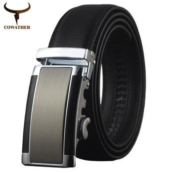 Cowather 2016 hombre vaca cinturones de cuero genuino para los hombres de dos colores de alta calidad automática cinto masculino grande adicional del envío libre