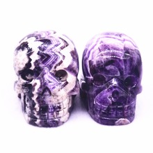 50mm natural quartz crystal engraved dream amethyst skull head healing Christmas gift free shipping(China)