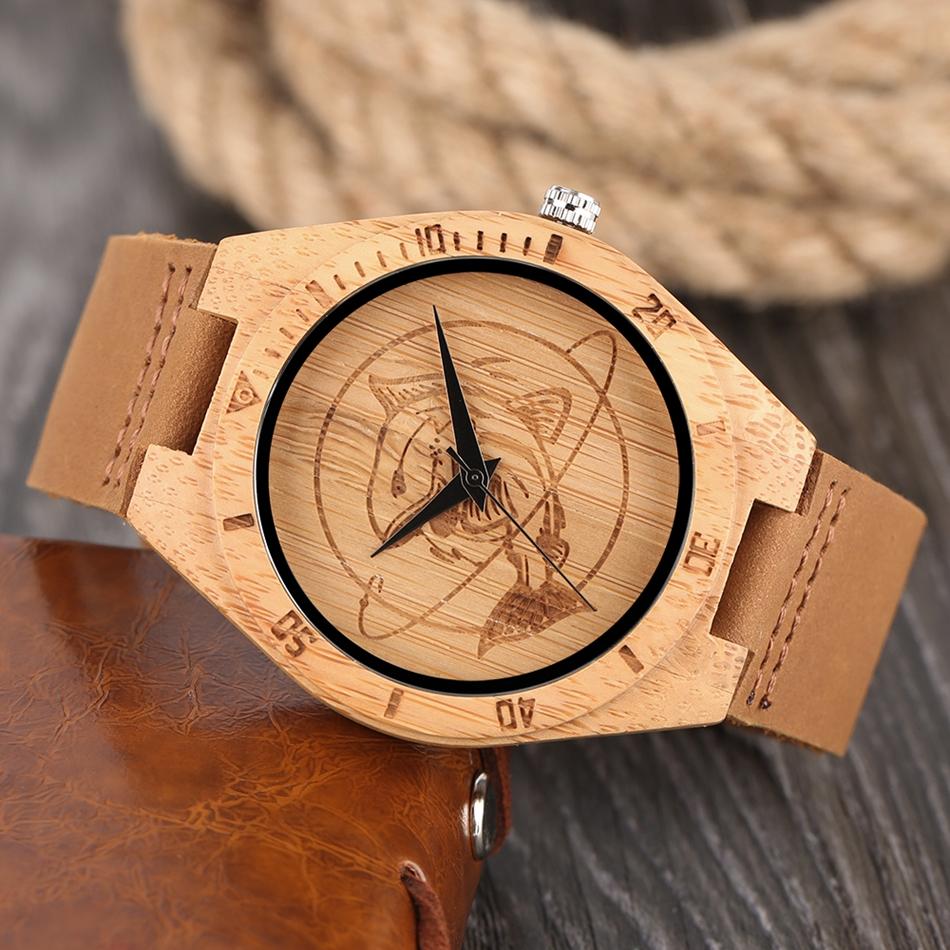 ไม้ไผ่ไม้นาฬิกาข้อมือผู้ชายฉลามแบบหน้าปัดที่ทำด้วยมือไม้สร้างสรรค์ดูผู้หญิงอิน 16