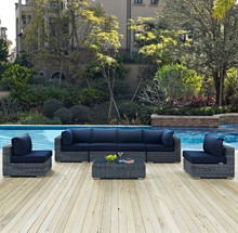 Factory direct sale Modern Outdoor Furniture Wicker 7 Piece Patio Set Lounge Sofa