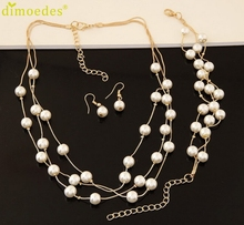 Fashion Lady Wedding Simulated Pearl Jewelry Sets Short Necklace Earrings Bracelets jewellery Set Delicate