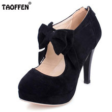 TAOFFEN size 30-47 fashion vintage woman small bowtie platform pumps,ladys sexy high heeled shoes for women footwear PA00150(China)