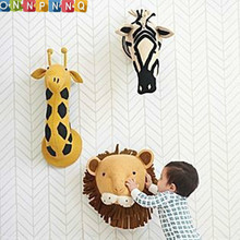 Handmade 3D Animal Head Toy Wall Decoration Flamingo/Giraffe/Fox/Tiger/Zebra/Elephant Stuffed Doll Baby Room Wall Hanger Artwork(China)
