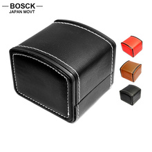 BOSCK Black Leather PU Original Watch Boxes Dress Casual Antique Watch Box for Women Men Watches