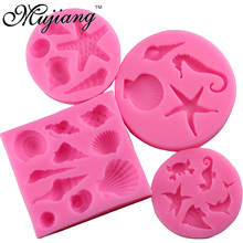 Mujiang 4 Pcs/Set Sea Shell Chocolate Silicone Mold Jelly Candy Clay Gumpaste Sugar Craft Fondant Molds Cake Decorating Tools(China)