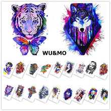 WM Cool Animals Wolf Tiger Lion Body Art Sexy 21X15CM Waterproof Temporary Tattoo For Man Woman Henna Fake Flash Tattoo Stickers