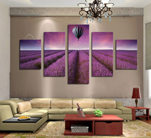 Beautiful Purple Lavender Original, Hot Air Balloon Art Canvas Print Painting Artwork Wall Picture Home Decor Unframed 5 Pieces