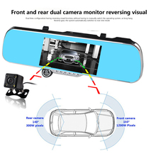 7 inch car dvr recorder full hd 1080p 160 degree dual camera rear view mirror GPS navigation camera dvr free shipping