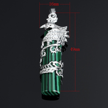 YYW New Genuine 3D Natural   Quartz Crystal  Sea Opal Stone Dragon Phoenix Pendant DIY Making for Necklace