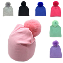 1Pc Baby Newborn Infant Toddler Boy Girl Cotton Real Fox Fur Ball Beanie Hat Cap