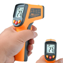 PM380T Non-Contact Laser LCD Display IR Infrared Digital C/F Selection Surface Temperature Thermometer Pyrometer Imager