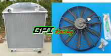 "3-Row For Ford Model T Bucket Chevy Engine 1924-1927 Aluminum Radiator & 16"" FAN(China)"