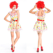 2017 Hot Sale New Sexy Halloween Costume Circus Clown Cosplay Suit For Women +Wig