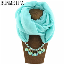 [RUNMEIFA]  Summer Spring Scarf Necklace Women's Shawls and Scarves Jewelry Pendant Scarfs Bufandas Mujer Female Beach