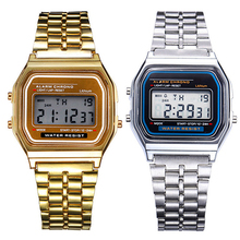 Men Women Watch Clock Gold Silver Vintage Stainless Steel LED Digital Fashion Sports Military Wristwatches Relogio Masculino