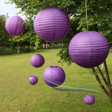 Chinese paper lanterns purple color 7pcs/lot Mixed Sizes(10cm-40cm) Round paper lantern for outdoor party birthday wedding