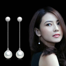 2017 Fashion Silver Earrings Double Artificial Pearl Earrings Long Paragraph Ms Temperament Simple Wear Ear women Jewelry
