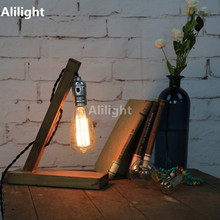 Loft Wood Table Lamp Vintage Style Oak Cafe Shop Desk Lights E27 Edison Bulb Beside Lamp Antique Home Decors Table Light Fixture