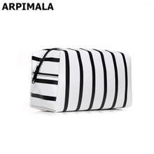 ARPIMALA 2017 PU Leather Cosmetic Bag Small Stripe Makeup Bag Black Gold Toiletry Bag Women Travel Organizer Make Up Vanity Case