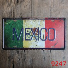 "New arrival LOSICOE Vintage license plate ""MEXICO"" Wall art craft metal painting vintage Iron for bar home decor 15X30 CM(China)"