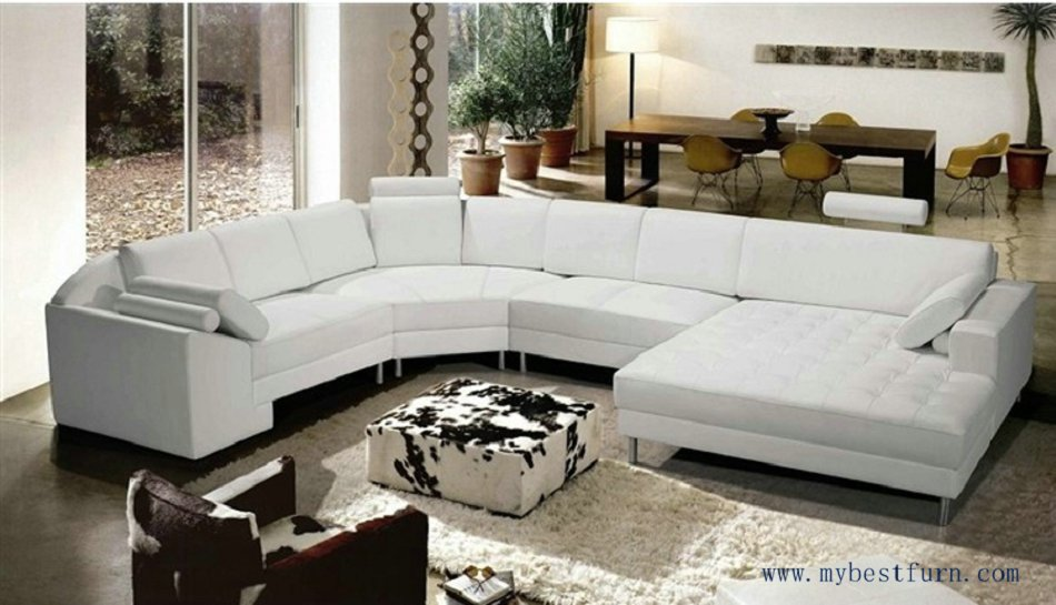 free shipping extra large size u shaped villa couch genuine leather sofa set modern couch sofa furniture s8683 - Large Sofas