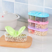 Kitchen Double Compartment Food Seal Tank Grains Food Snack Storage Plastic Fruit Grains dry goods Tank Small Storage Box(China)