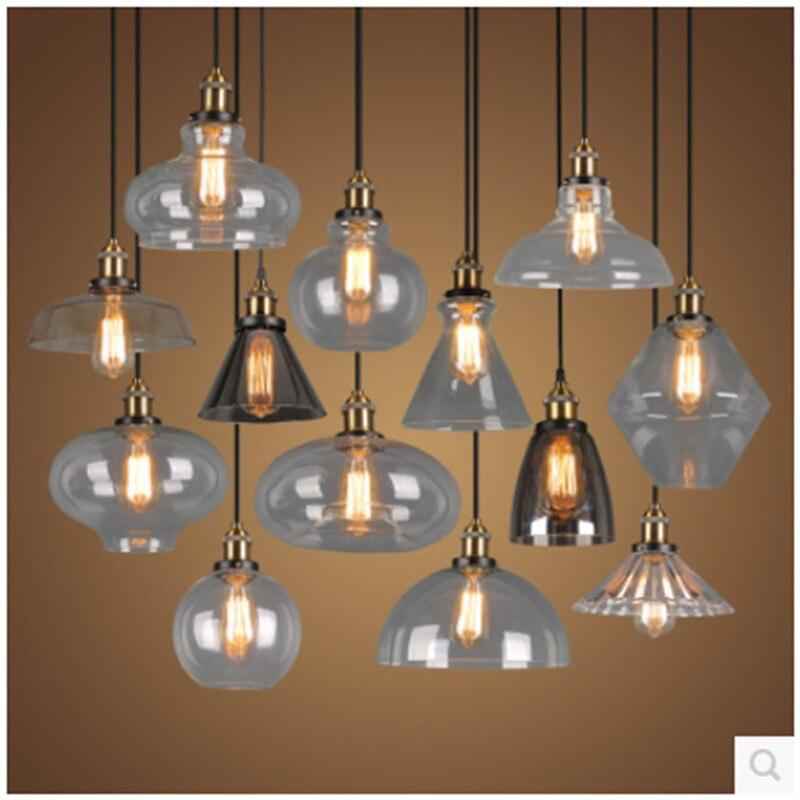 Simple Retro Glass Pendant Light Industrial Style Living Room Bedroom Bar Loft Glass Lamp<br>