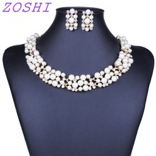 ZOSHI Hot Worldwide Imitation White/Colorful Simulated Pearl Gold Color Elegant Bridal Jewelry Sets Kit Gift  New Hot Selling
