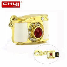 CHYI Key Ring USB Flash Drive Pen Drive White with Gold Jewelry Camera Memory Stick 4GB 8GB 16GB 32GB 64GB Pendrive For Gift