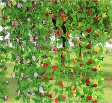 2 Meter 8 colors artificial rose flower rattan wedding hotel market decorative flowers silk flowers rose chain AH2225(China)