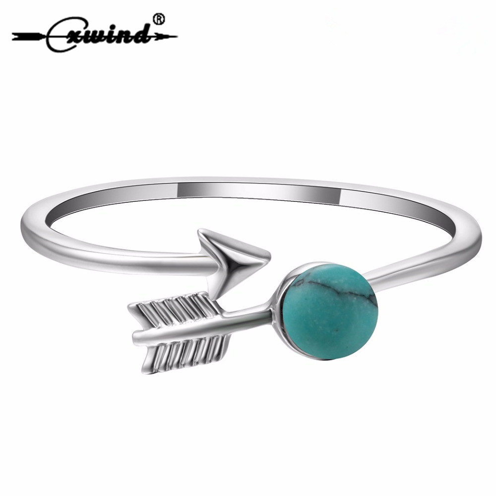 Cxwind Unique Silver Arrow Rings Open Charm Green Stone Ring For Girl Women Adjust Gift Fashion Statement Finger Ring Jewelry
