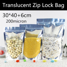 Wholesale 50pcs 30x40+6cm 200micron Large Doypack Translucent Aluminizing Foil Zipper Bag Stand up Snack Zip Bag