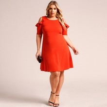 Big Size Women Dresses Orange Fashion Women Clothing Casual Brief Solid O-Neck Loose Summer Dress Plus Size Dress XL-XXXL(China)
