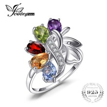 JewelryPalace 2.5ct Genuine Amethyst Garnet Peridot Topaz Ring Rock Quartz Solid 925 Sterling Silver Wedding Jewelry For Women(China)