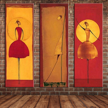 Group Art 3 Panels Ballet Dancers Oil Painting African Woman Large Wall Mural Picture Canvas Art for Home Decoration (No frame )