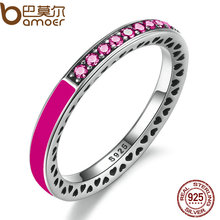 BAMOER 925 Sterling Silver Radiant Hearts Orchid Enamel & Cerise Crystals Finger Ring for Women Wedding Jewelry PA7618