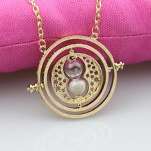 Hermione Granger Rotating Time Turner Necklace Gold Hourglass for Women/Men Movie Jewelry(China)
