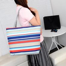Large Women Shoulder Bag Colorful Stripe Canvas Tote Casual Summer Beach Bag Daily Shopping Bag Ladies