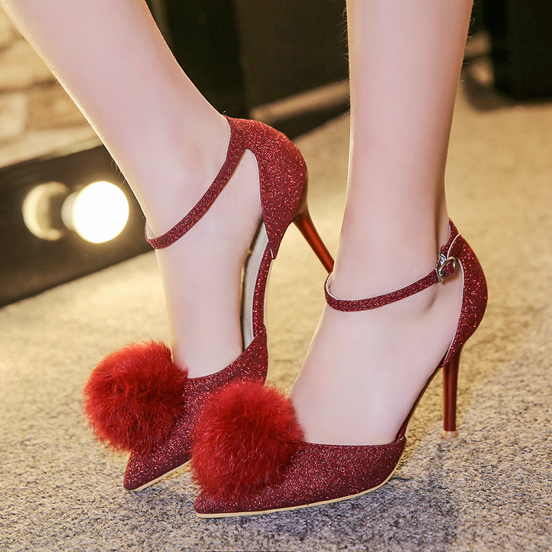 2018 New ankle strap Summer Shoes Woman poined toe fur Women shoes Party Wedding ladies shoes Thin High Heel Pumps