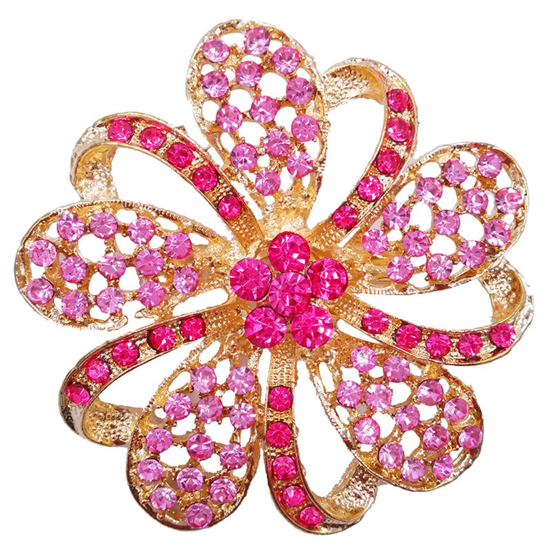 Pink Fashion 6.3cm Large Flower Hot Christmas Brooches Styling Jewelry BA008