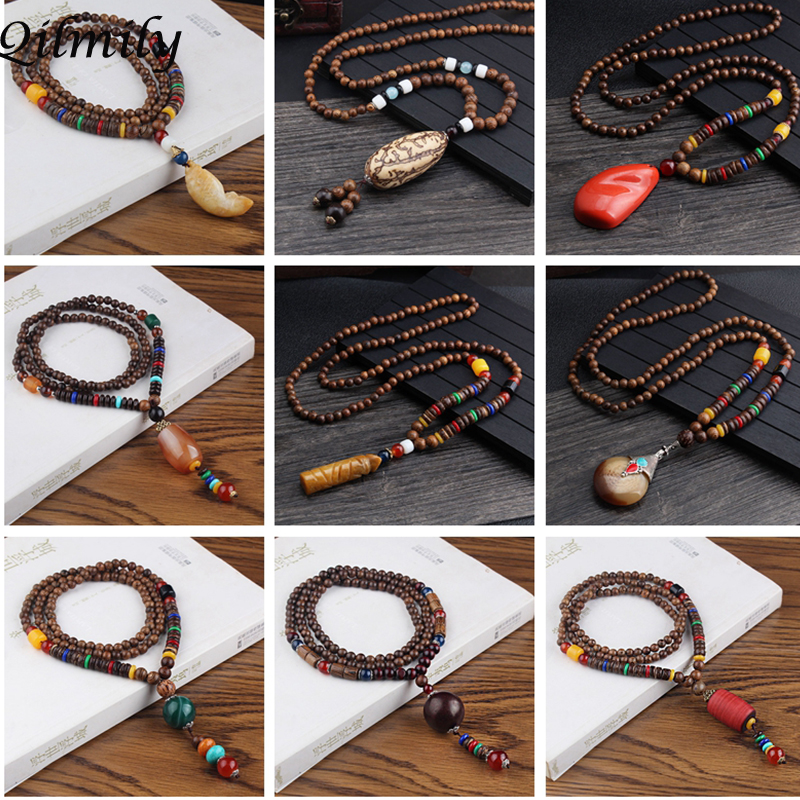 Women Gift Long Wood Jewelry Sweater Chain Pendant Necklace Wood Beads