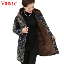 Middle Age Women Winter Tops Big Size Mother Clothes Plus Large Plus Size 6XL Female Floral Print Parka Thick Warm Coats H528(China)